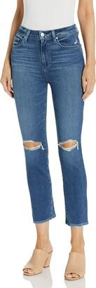 Paige Women's Sarah Transcend Vintage Stretch High Rise Slim Fit Straight Leg Crop Jean