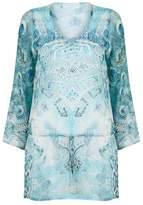 Elizabeth Hurley Peacock Embellished Kaftan