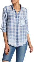 Susina Plaid Burnout Collar Shirt