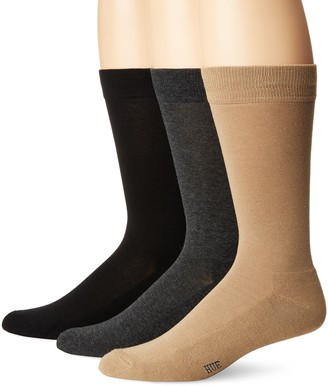 Hue Men's Solid Crew Sock (3-Pack) Black/Graphite/Classic Brown Sock Size 10-12/Shoe Size 6-13