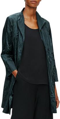 Eileen Fisher Organic Cotton Satin Steel Bracelet-Sleeve Jacket
