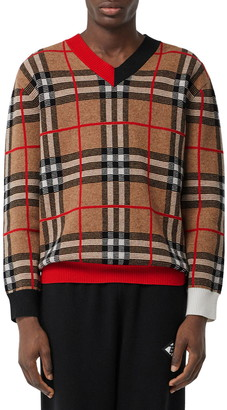 Burberry Duggan Check V-Neck Sweater