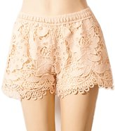 Mullsan Women's Posh Sexy Fitted Tiered Crochet Lace Flower Shorts