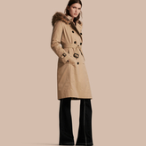 Burberry Fur-trimmed Hood Trench Coat with Detachable Warmer