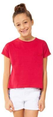 Dex Girl's Pom-Pom Cotton Top