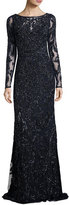 Theia Long-Sleeve Beaded Embellished Sheath Gown, Midnight