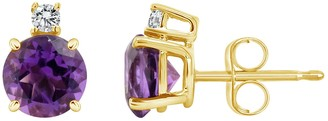 14K Yellow Gold 6mm Round Amethyst Diamond Accent Earrings