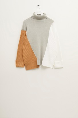 French Connection Viola Knits Colour Block Roll Neck Jumper