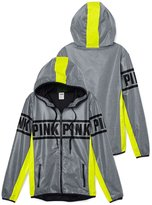 Victoria's Secret PINK Anorak Full- Zip Hoodie X-Smalll Grey Neon Lemon