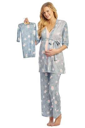 Everly Grey Women's Maternity/Nursing Robe Tank Top Pant Baby Gown and Hat