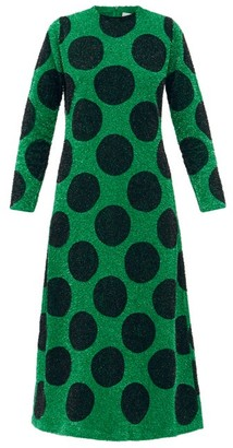 Ashish Polka-dot Sequinned Cotton-poplin Longline Dress - Black Green
