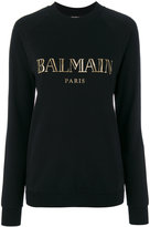 Balmain logo lettering sweatshirt - women - Cotton - 36