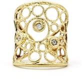 Roberto Coin 18K Yellow Gold Bollicine Cuff Diamonds Ring Size 6