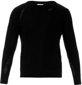 Saint Laurent Distressed Cotton-blend Sweater
