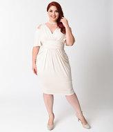 Kiyonna Plus Size Porcelain Ivory Tantalizing Twist Sheath Dress
