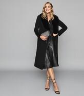Reiss Dawson - Faux Fur Shawl Collar Coat in Black