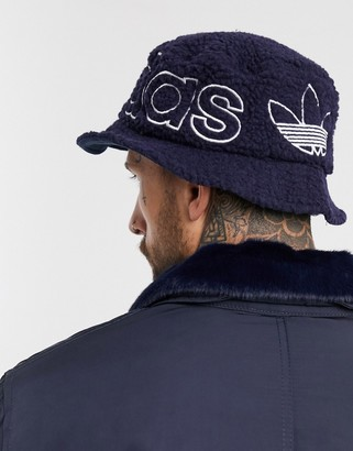adidas sherpa bucket hat in navy