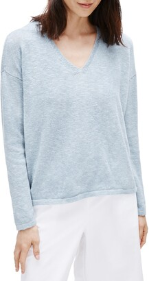 Eileen Fisher V-Neck Boxy Organic Cotton & Linen Sweater