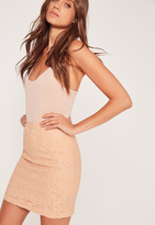 Missguided Premium Lace Mini Skirt Nude