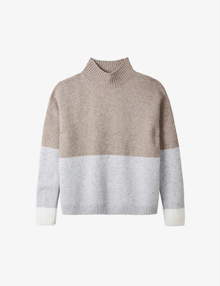 The White Company Colour-block wool and cashmere-blend jumper