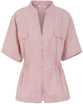 A Line Clothing Pink Fitted Shirt With Zipper In The Front