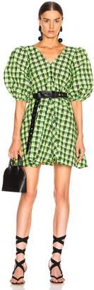 Ganni Seersucker Checker Dress in Neon Maze | FWRD