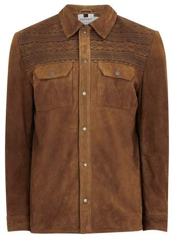 Topman Mens Brown Tan Embroidered Suede Jacket
