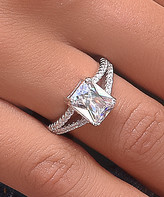 Golden Moon Women's Rings Silver - Cubic Zirconia & Sterling Silver Baguette-Cut Ring