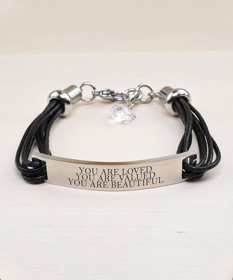 Swarovski Pink Box Women's Bracelets Silver - Stainless Steel 'Loved' Bar Bracelet With Crystals