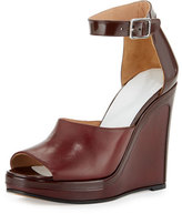 Maison Margiela Leather Ankle-Wrap 105mm Wedge Sandal, Bordeaux