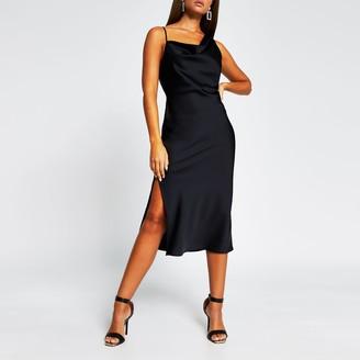 River Island Womens Black sleeveless cami midi slip dress