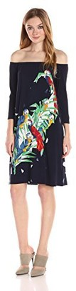 Norma Kamali Women's Off Off Shoulder Dress to Knee in Midnight Parrot XS