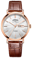 Rotary Gs90157/02 Les Originales Windsor Day Date Leather Strap Watch, Tan/silver
