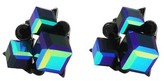 Women's Cluster Cube Stud Earrings - Black