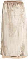ADAM by Adam Lippes Lace-lined velvet skirt