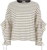 River Island Womens Cream stripe lfrill sleeve sweatshirt