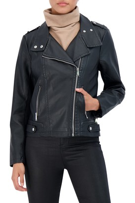 Sebby Collection Asymmetrical Faux Leather Jacket