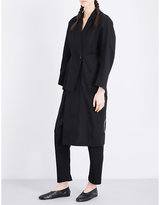 Yohji Yamamoto Signature-embroidered cotton and linen-blend coat