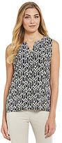 Jones New York Split Back Sleeveless Printed Knit Jersey Top