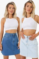 Thumbnail for your product : boohoo 2 Pack Classic Denim Mini Skirt