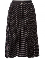 Sacai striped pleated midi-skirt
