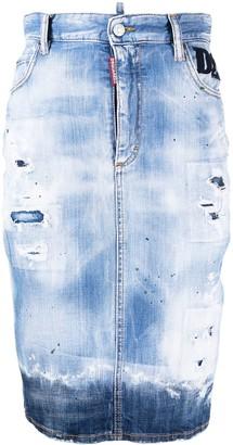 DSQUARED2 Faded Denim Knee-Length Skirt
