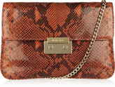 Sloan python-effect glossed-leather clutch