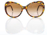 Tiffany & Co. Tortoise Shell Brown Lense Silver Tone Crystal Round Sunglasses