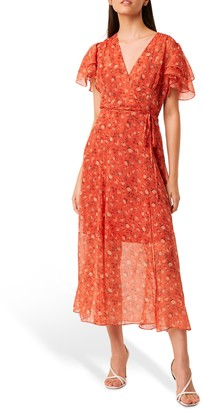 French Connection Esi Crinkle Floral Print Midi Tea Dress, Pumpkin/Multi
