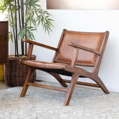 """Thumbnail for your product : Foundry Select Aguilera 26"""" Wide Top Grain Leather Lounge Chair"""