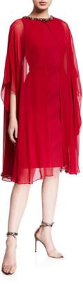 Rickie Freeman For Teri Jon Bejeweled Neck Scuba Dress with Sheer Cape Overlay