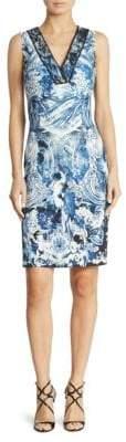 Roberto Cavalli Cady Lace Applique Sheath Dress