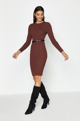 Coast Knitted Rib Dress With Skinny Belt