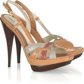 Tri-color slingback sandals